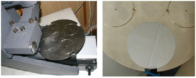 Modified SOLVER LS for automated measurements (left). Positioning platform for four 4-inch silicon wafers (right).