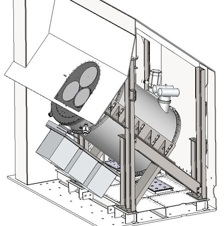 Receiver positioning scheme on the telescope optical axis inside of the cabin. Neutral cabin floor position is tilted down at 5% to horizon, bringing both PT-tubes to vertical positions.