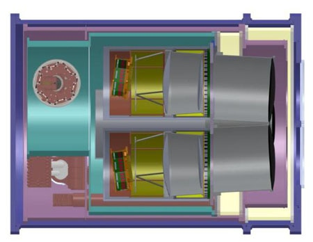 Receiver cross-section, showing preliminary design with two of three optic tubes.