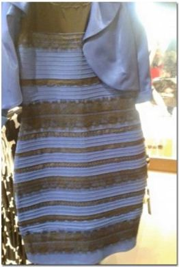 "A photo of ""The Dress"" showing a combination of white and gold"