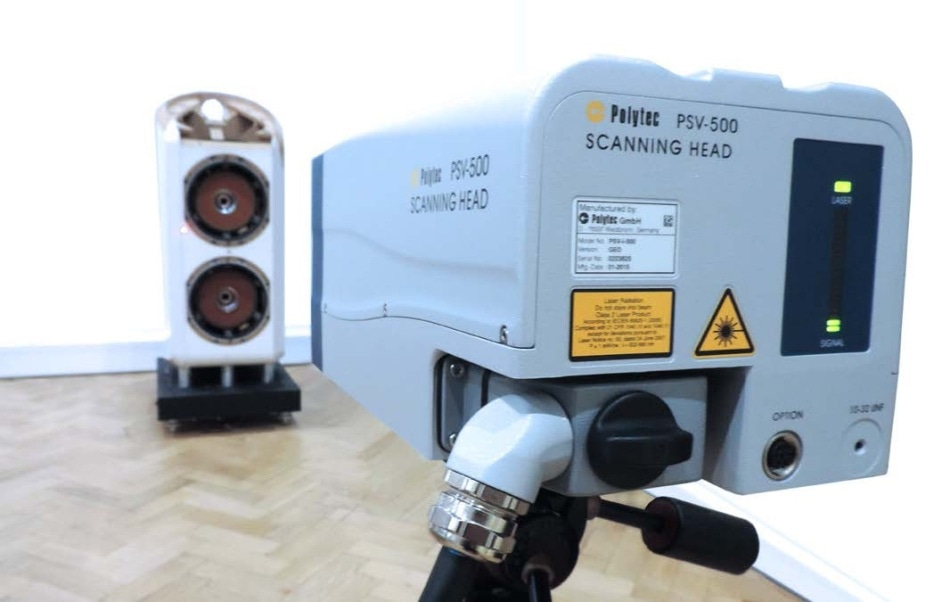 Polytec's PSV-500 scanning vibrometer for non-contact measuring of structure vibration.