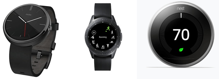 Android-Wear Moto 360 smart watch (left; Source: Amazon.com), Samsung Galaxy Watch (middle; Source: Samsung.com), and Google Nest Thermostat (right; Source: Google.com).