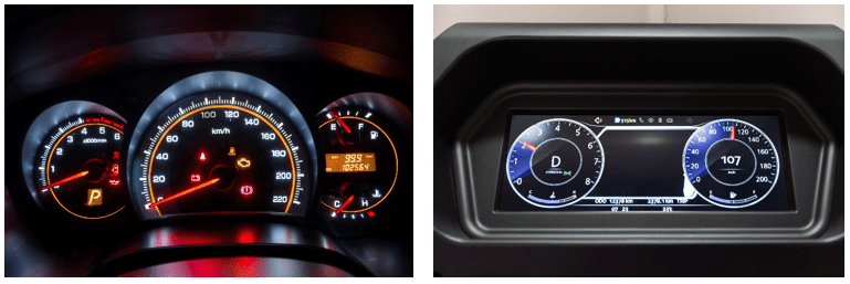 A backlit analog speedometer region (left) and a rectangular display-based speedometer (right).