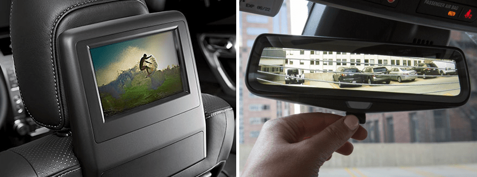 Optional rear-seat entertainment console in the Lexus 2019 GX (left) and a top-rated rear-view camera system (right). Image credits: Lexus.com and Saferoad.org, respectively.