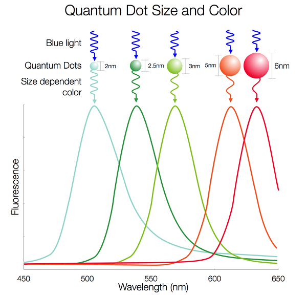 The color of a quantum dot depends on the size of the particle; different sizes produce different wavelengths. Photo source: Nanosys