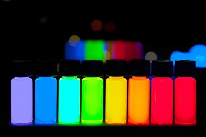 Vials containing quantum dots: fluorescent nanoparticles of semiconducting material. Image credit: PlasmaChem