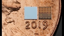 Front and back images of a mobile NIR VCSEL chip, on a penny for scale. (Image: Copyright TriLumina Corporation, used by permission)