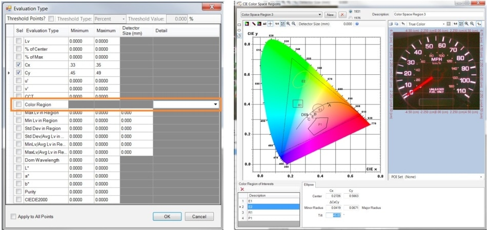 "By selecting ""Color Region"" in the Auto-POI software tool, the user can draw shapes within the CIE color chart to define Cx, Cy tolerances for colored objects that should be included in the measurement POI set."