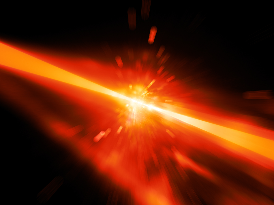 Red glowing laser beams hitting the target, explosion, computer generated abstract background, 3D rendering