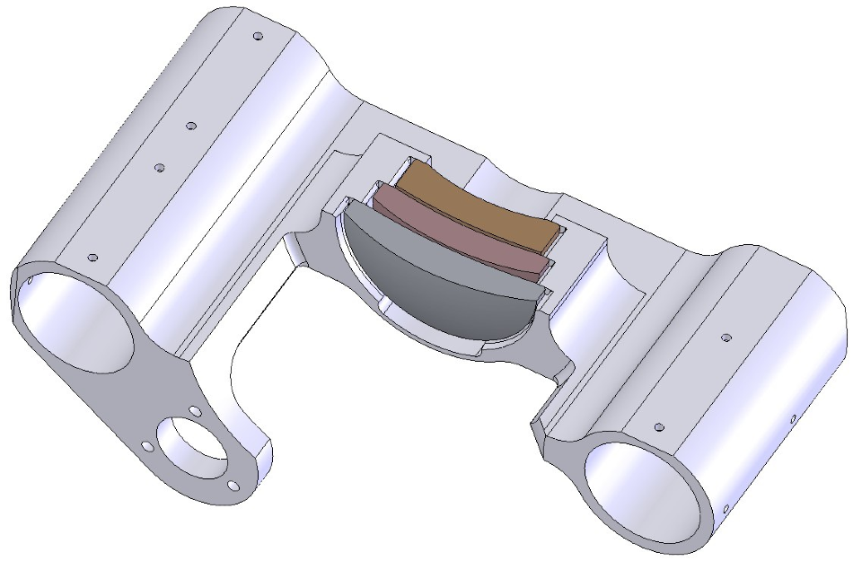 Integral lens cell and carriage.