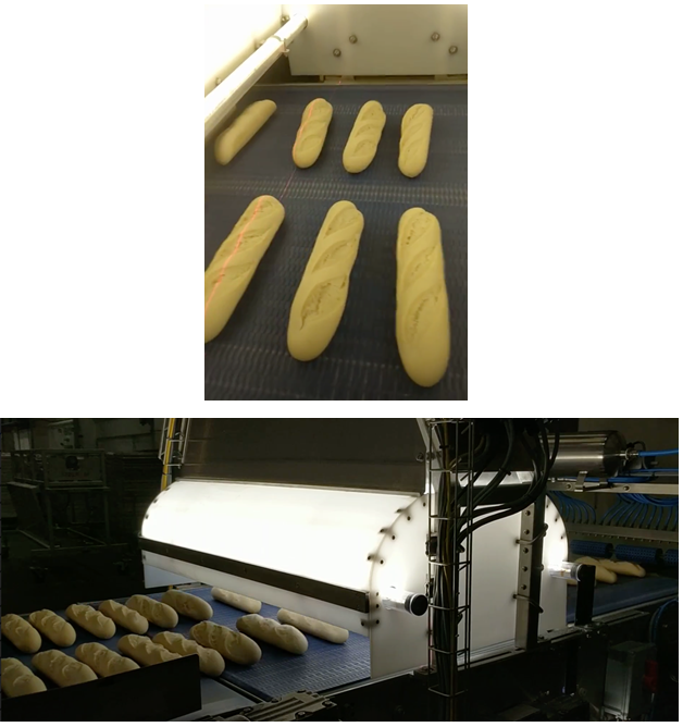 Par-baked baguettes passing through the vision inspection system