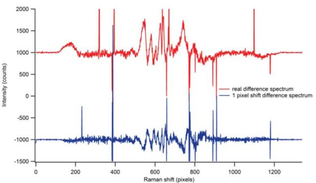 Real difference Raman spectrum (red) and spurious difference spectrum obtained from a 1 pixel shift (blue).