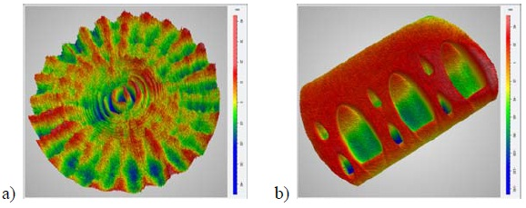 "3D height maps demonstrating lateral resolution capabilities on a 1000x1000 detector array using an optimized spatial carrier algorithm: (a) an optical flat showing mid-spatial frequency errors generated by small-tool polishing; (b) a ""spot"" block used to characterize the polishing footprint for deterministic polishing correction."