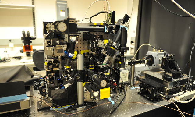 Lattice Light Sheet Microscope Setup. Image Credit: Matt Staley, HHMI  Janelia Research Campus.