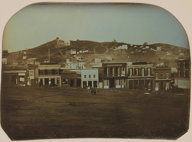 Daguerreotype of Portsmouth Square with restaurants and shops, San Francisco, 1851.