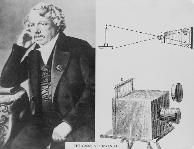 Louis Daguerre (1787-1851), with an illustration of the camera he invented.