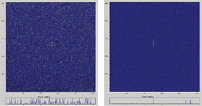 Photon counting screenshots: Left = -30°C (x1000 EM Gain), right =-80°C (x1000 EM gain)