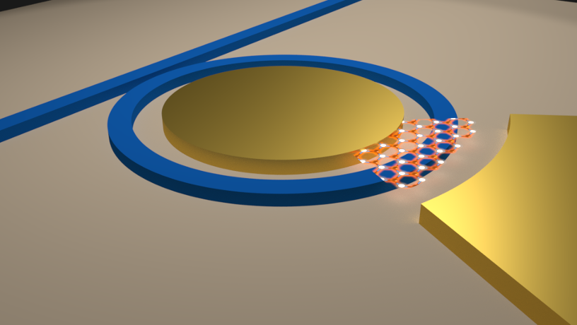 Illustration of an integrated micro-ring resonator based low loss optical cavity with semiconductor 2D material on top of the waveguide